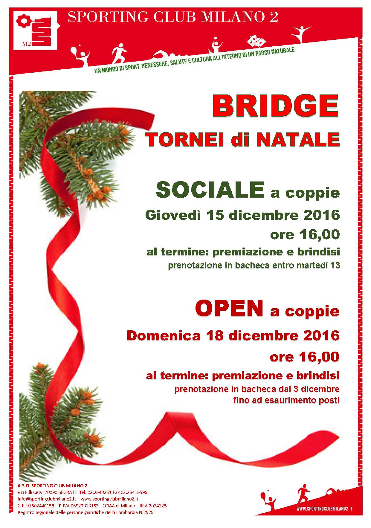 Bridge Tornei di Natale