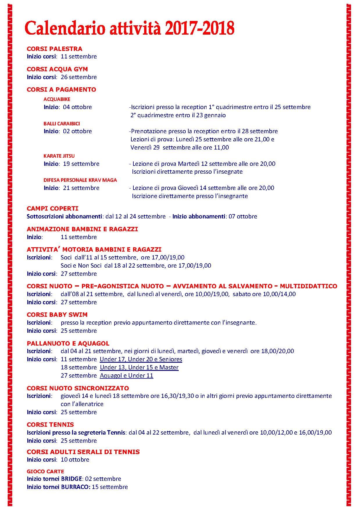 Sporting club milano 2 calendario attivit 2017 2018 for Calendario eventi milano 2017